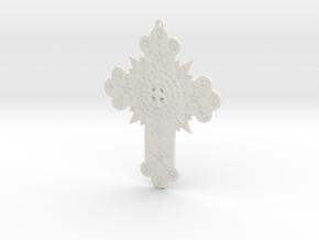 GD Rose Cross Lamen in White Natural Versatile Plastic: Small