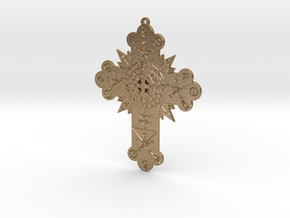 GD Rose Cross Lamen in Polished Gold Steel: Medium