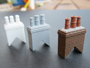 Chimney Types 1,2,3 & 4 OO Scale in White Natural Versatile Plastic