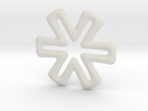Six-ended cross base shape in White Natural Versatile Plastic