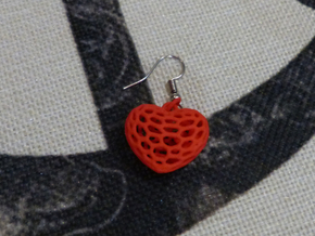 Voronoi heart with 3 interlocked small hearts in Red Processed Versatile Plastic: Small