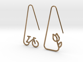 Amsterdam Bike and Tulip Earrings in Natural Brass