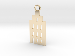 Amsterdam Canal House Basic Pendant in 14k Gold Plated Brass