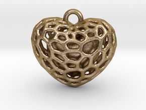 Voronoi heart with one heart inside in Polished Gold Steel: Medium