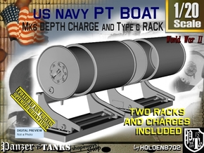 1/20 PT Boat Deep Charge w Rack Set001 in Smooth Fine Detail Plastic