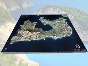 "Milos/Melos, Greece Map: 8""x10"" in Full Color Sandstone"