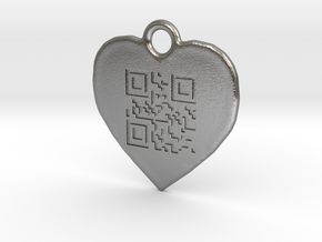 DRAW QR pendant - LOVE YOU in Natural Silver