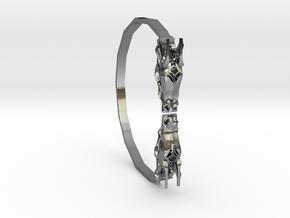Geometric Dragon Bracelet in Polished Silver