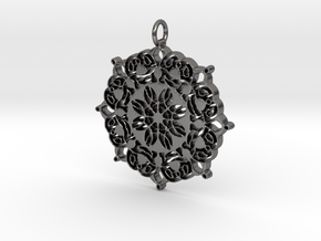 Geometric Flower Mandala  in Polished Nickel Steel