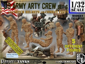 1/32 US Arty Crew Hot Weather Set6 in White Natural Versatile Plastic