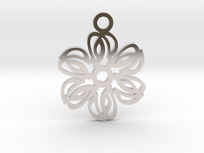 Exotic flower. Pendant in Rhodium Plated Brass