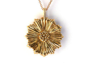 Coral Leptocyathus Pendant - Nature Jewelry in Polished Bronze