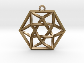 "Woven Vector Equilibrium Pendant v1 1.4"" in Polished Gold Steel"