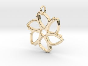 Six-Petaled Flower Pendant in 14k Gold Plated Brass