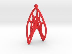 Voronoi Catalan Curve Earring (002) in Red Processed Versatile Plastic