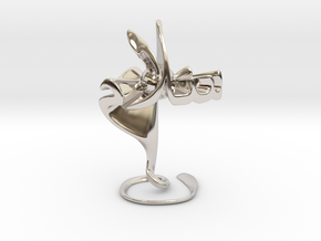 Hubb fee Salam (Love in Peace) - Sculpture in Rhodium Plated Brass