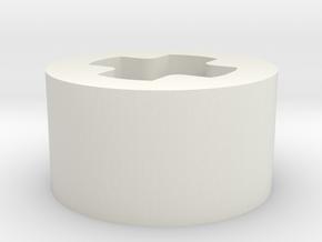 1 x 1 x 1-2 F axle hole in White Natural Versatile Plastic
