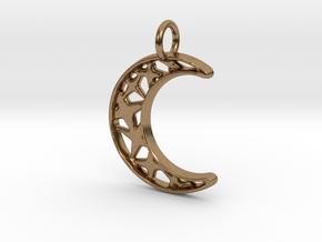 Glistening Moon 30mm Pendant in Natural Brass