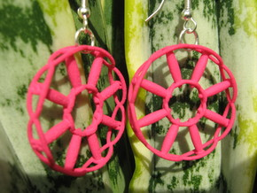 Wheel Earrings in Red Processed Versatile Plastic