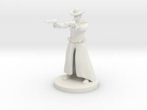 Human Gunslinger - Two Pistols Male in White Natural Versatile Plastic