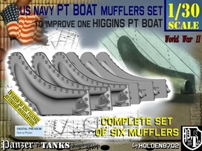 1/30 PT Boat Higgins Muffler Set101 in Smooth Fine Detail Plastic
