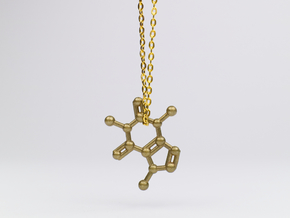 Caffeine Molecule Necklace / Keychain in Natural Brass