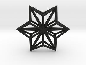 Origami STAR Structure, pendant in Black Premium Versatile Plastic