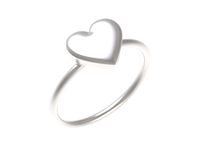 Big single heart ring, Size 7 in Polished Silver