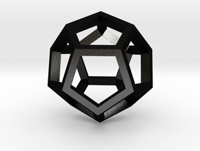 Regular Dodecahedron Mesh in Matte Black Steel
