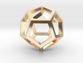 Regular Dodecahedron Mesh in 14k Gold Plated Brass