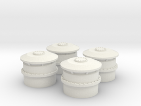1/48 USS BB59 Vent small Set x4 in White Natural Versatile Plastic