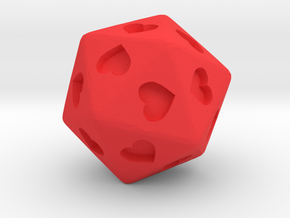 d20 Hearts in Red Processed Versatile Plastic