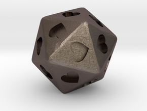 d20 Hearts in Polished Bronzed Silver Steel