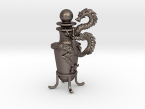 Dragon Vase Oil Lamp with Stopper in Polished Bronzed Silver Steel