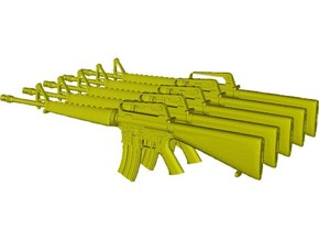 1/18 scale Colt M-16A1 rifles x 5 in Smooth Fine Detail Plastic