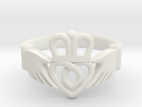 Traditional Claddagh Ring in White Natural Versatile Plastic: 5 / 49