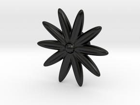 Hole Plug 0001 - flower in Matte Black Porcelain