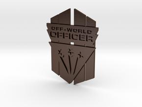 Off-World Officer Badge in Polished Bronze Steel