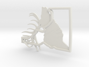 Idaho-Elk-Keychain in White Natural Versatile Plastic