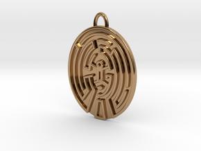 WestWorld Maze Pendant V2 in Polished Brass