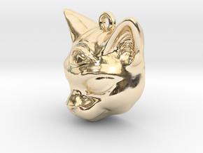 Mystical cat pendant in 14K Yellow Gold