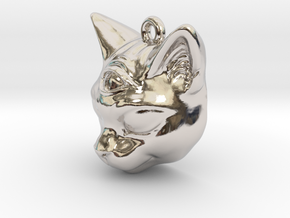 Mystical cat pendant in Rhodium Plated Brass
