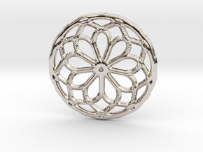 Mandala pendant or earrings with small dots in Platinum