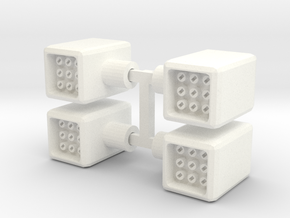 Set of Four 5mm Missle Pods in White Processed Versatile Plastic