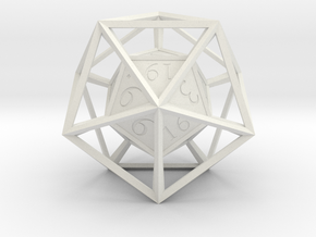 hyperdie (D20) in White Natural Versatile Plastic