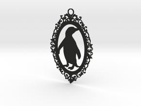 Penguin wall plaque in Black Natural Versatile Plastic