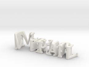 3dWordFlip: Michael/Carina in White Natural Versatile Plastic