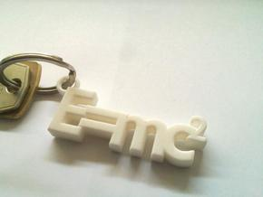 E = mc2 keyring (big version) in White Strong & Flexible