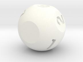 d7 Sphere Dice in White Processed Versatile Plastic