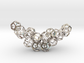 Dodecahedrons pendant in Rhodium Plated Brass